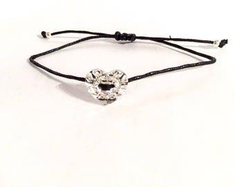 Swarovski button and cotton bracelet, sterling silver beads, friendship bracelet