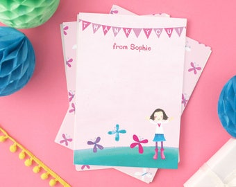 Personalised Girl's Butterfly Thank You Cards (choose the hair colour) -- Minimum order 8