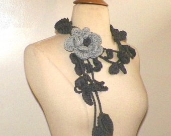 On Sale- Gray  Scarf Lariat Rose Flower Necklace With Leaf Leaves Ivy Floral Crochet Accessory Freeform OOAK Summer Fashion Extra Long Skinn