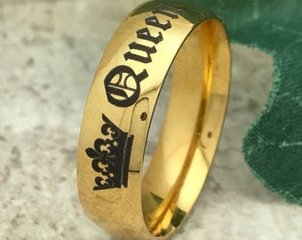 5MM Tungsten Ring Gold  Plated Tungsten Wedding Ring Personalized Custom Engrave Ring, Brushed Finish, Comfort Fit Ring