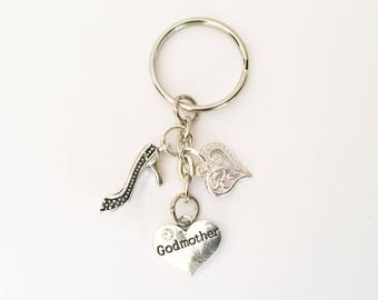 Godmother Keyring Bag Charm key chain Gift Christening Godparent gift