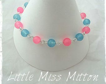 Blue and Pink Dyed Jade Bracelet