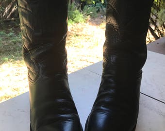 Vintage Black Leather Justin Ropers Size 8b Cowboy Boots Size 10 Cowgirl Boots