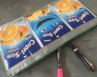 Funny face pencilcase, Felt tip pen pouch, Capri Sun case, Fun pencil case, Cool kids gift, Emoji stationery, Back to school, Cute gift idea