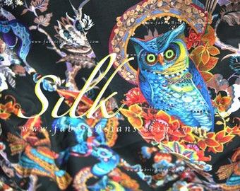 Owl fabric exotic fabric by the yard Black silk crepe - seide stoff kaufen