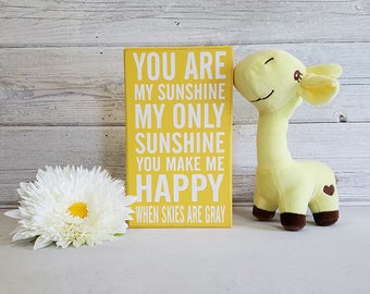You Are My Sunshine- Wood Block Baby/Nursery/Kids Room Decor-Baby Gift-Shower Gift-Birthday Gift-Country Decor