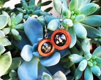 HYPOALLERGENIC EARRINGS Boho Wood Drop Earrings - Stainless Steel - Black Glitter Gold Flake, Clothing Gift