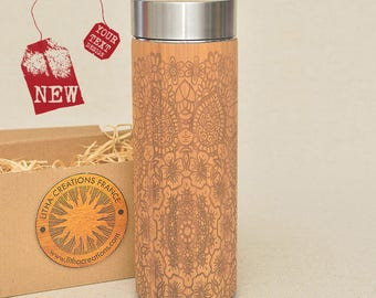 Customized Thermos Engraved Bamboo Wood ETHNIC MANDALA Stainless Steel with Screw Lid