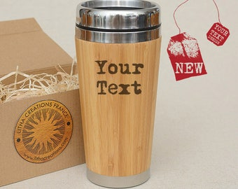 Personalized Bamboo Wood Travel Mug Car Tumblier Desk Coffee Tea Cup with Lid