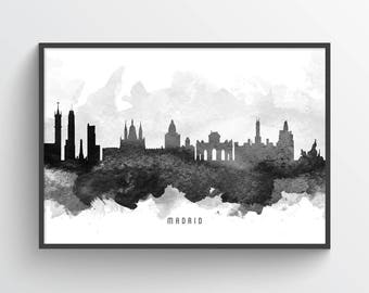 Madrid Poster, Madrid Skyline, Madrid Cityscape, Madrid Print, Madrid Art, Madrid Decor, Home Decor, Gift Idea, ESMD11P