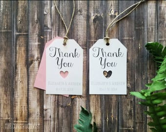 White Personalized》THANK YOU TAG《Cutout Heart/Wedding/Engagement Favor/Gift Tag