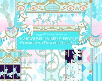 20% off Carousel / Blue Carousel / Carrousel La Belle Epoque Clip Art + Digital Paper Set - Instant Download