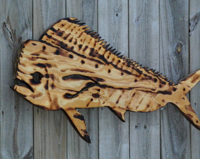 Dolphin Mahi Fish Wall Decor, Birthday gift for him, Tiki Bar Wood Sign, Man Cave/Patio/Beach house hanging wood decorative fish