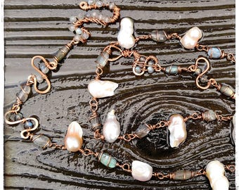 labradorite fresh water pearl wire necklace faceted bead oval bead rondelle tarnish resistant copper handmade necklace boho jewelry parawire