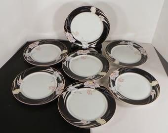Mikasa Charisma Black Salad Plate (s) LOT OF 7 Goldtone Trim