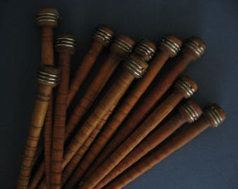 Antique Wooden Industrial Loom Spools Bobbins Textile Spindles, Set of 12 - 1900's