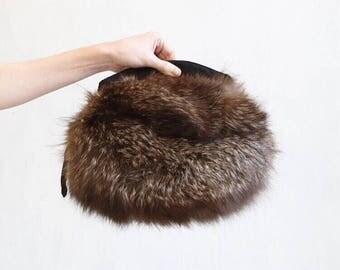 fox fur bag purse / fox fur handbag / brown fox fur bag / boho fur bag / boho fox fur bag / mid century fox bag