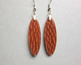 Unique Exotic Wood Patterend Earrings, Handcrafted recycled ExoticWoodJewelryAnd Hypoallergenic wires