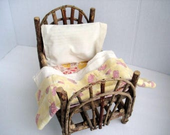 Vintage Twig Doll Bed and Vintage Doll Bedding