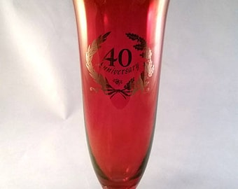 Ruby Red 40th Anniversary Vase with Gold Trim