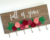 Rosary holder, jewelry holder, full of grace quote, Catholic rosary holder, floral decor