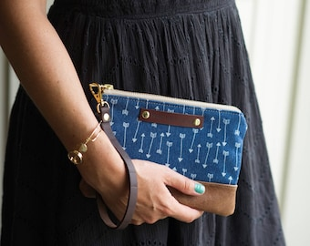 leather clutch, clutch bag, leather bag, arrow print bag