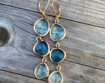 Long Blue Dangle Earrings, Bridesmaid Earrings, Blue Earrings, Wedding Earrings, Bridal gift, Wedding Gift, Gold Earrings