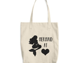 Mermaid at Heart Cotton Tote Bag