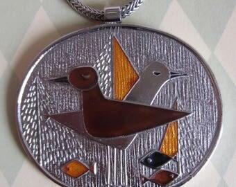Vintage 1970 s de Passille Sylvestre Large Enamel Pendant on Chain Necklace