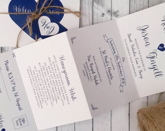 Personalised Wedding Invitations  Accordion style Blue Heart * Handmade* With Kraft Envelopes, Tags & Twine