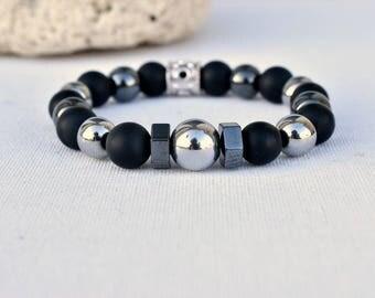 men's hematite silver 12mm matte black onyx bracelet