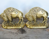 Vintage rare Brass book ends Bison or Buffalo Solid Brass Library Bookends Gold Decor, Hollywood Regency Decor, stamped Canada