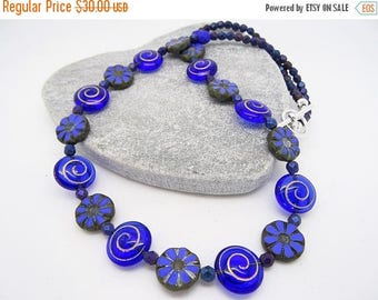 On Sale Cobalt Blue Necklace, Cornflower Blue Necklace, Czech Glass Necklace, Floral Necklace, Swirl Necklace, Boho Necklace, Ladies Jewelle