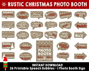 PRINTABLE Christmas Photo Booth Props–Christmas Props-Christmas Photo Booth Sign-Christmas Speech Bubbles–Christmas Party-Instant Download