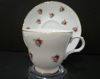 TEACUP. ROSEBUDS DESIGN.  Crown Trent Bone China Teacup and Saucer. English Bone China Vintage Crown Trent Teacup Set.