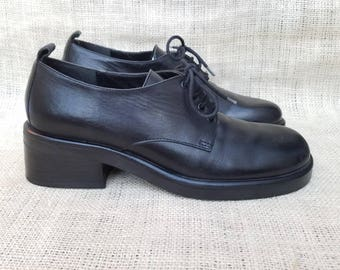 Vintage 90s Chunky Heel Black Leather Lace Up Oxford Calvin Klein Loafers Menswear Inspired Grunge Mod Brogues size 6