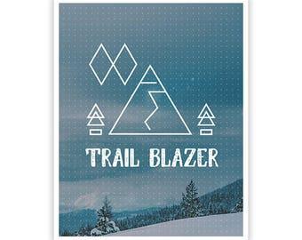 Trail Blazer Poster / Geometric Design / 8 x 10 /  Lustre Finish Kodak Print