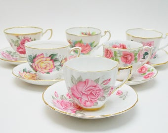 Collection of 6 Rose Vintage Tea Cups and Saucers Shades of Pinks and Yellow Made in England Bridal Party Baby Shower Wedding Lot 1