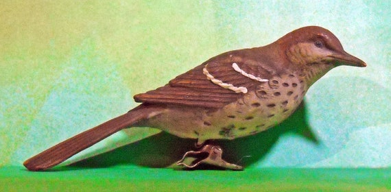 Rare Vintage Brown Thrasher Christmas Ceramic Ornament on clasp
