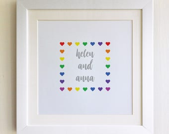 """FRAMED Personalised LGBT Valentine's Print, 10""""x10"""", Black, White or Oak Frame, Weddings, Anniversaries, Fab Picture Gift"""