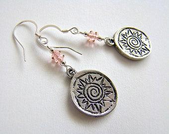 Sun Stars Earrings, Pewter Sun Charm Earrings, Silver Charm Pink Czech Glass Drop Earrings, Vintage Style Sun Earrings