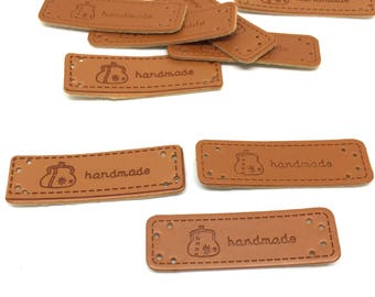 5 leather labels, handmade
