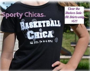 Basketball Shirt, Girls Basketball Shirt, Basketball Bling Shirt w/Silver Basketballs, I Love Basketball, Basketball Girl, Basketball Gifts