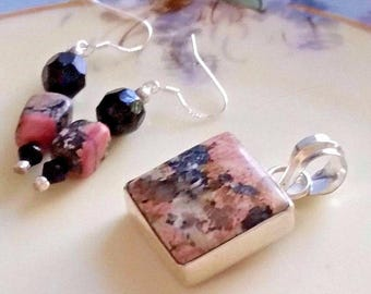 Rhodonite Pendant and Earrings Set Pink and Black Sterling Silver 925