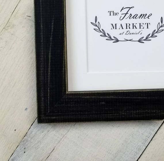 Blanaid Black Distressed Wood Picture Frame With White Mat