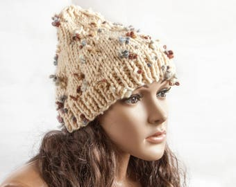 Womens Hat - Cap with lambs - Beige Hat - Ivory Earflap Hat Beige Slouchy Beanie - Knit Accessories