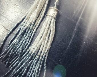 Long fringe earrings Tassel earrings  Silver earrings Shades of grey Long tassels