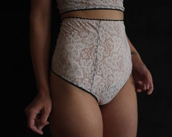 Powder Pink High Waist Thong with Organic Cotton Liner