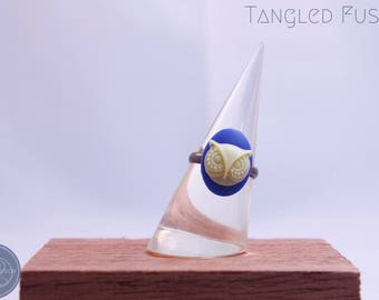 Handmade Adjustable Cameo Rings Owl Design