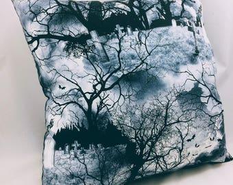 Throw Pillow Accent Pillow Toss Pillow Graveyard Halloween Group One Home Halloween Gothic